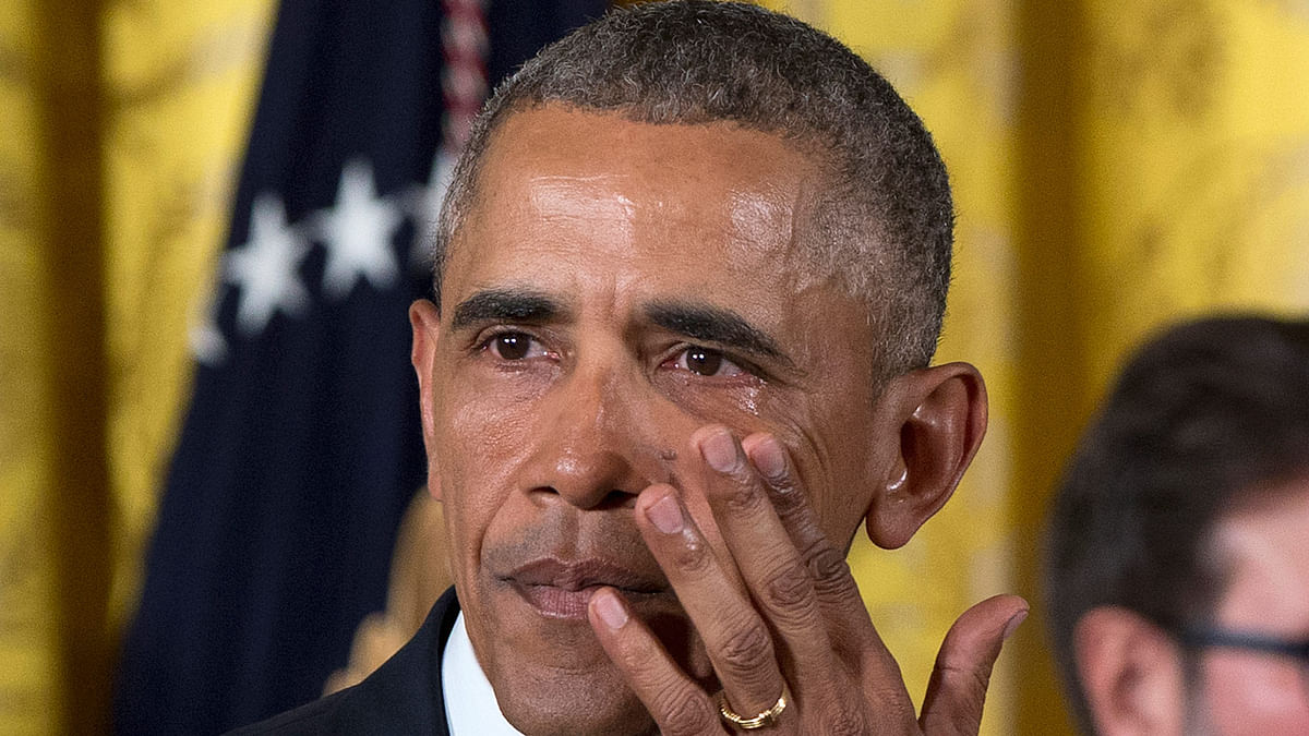 An emotional Obama appeals to Congress not to let gun control take America hostage. (Photo: AP)