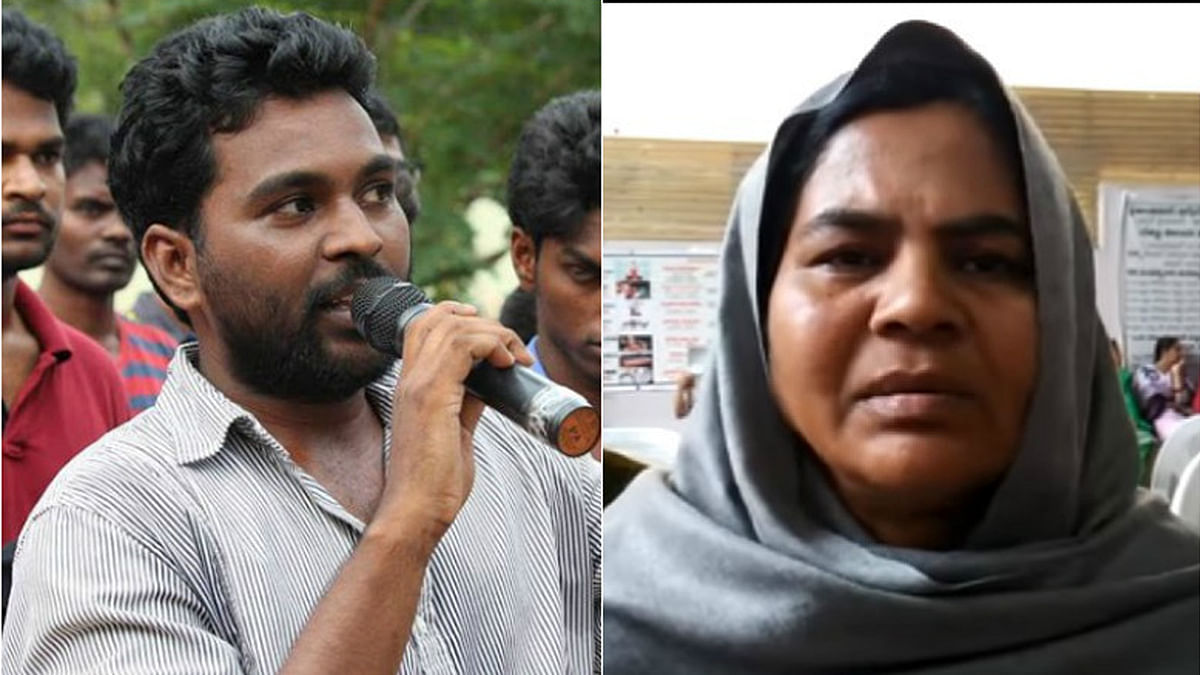 Rohith Vemula and Radhika Vemula, his mother, who according to a probe, has  faked being a Dalit. (Photo Courtesy: <i>The News Minute</i>)