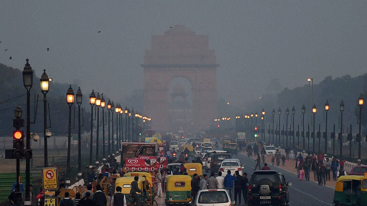 A view of smog at New Delhi's India Gate.