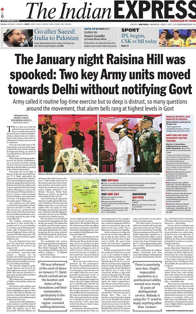 The front page of <i>The Indian Express on </i>April, 4, 2012<i>. </i>(Photo courtesy: <i>The Indian Express</i>)