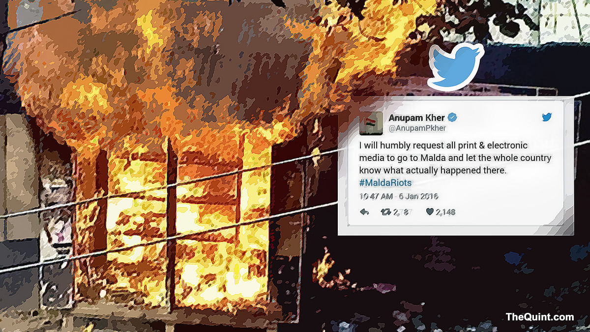 Twitter asks why there was no media frenzy about the Malda riots. (Photo: <b>The Quint</b>)