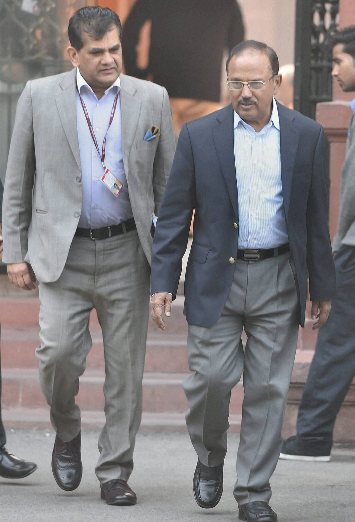 National Security Adviser (NSA) Ajit Doval and Amitabh kant leaves after a Cabinet meeting in New Delhi. (Photo: PTI)