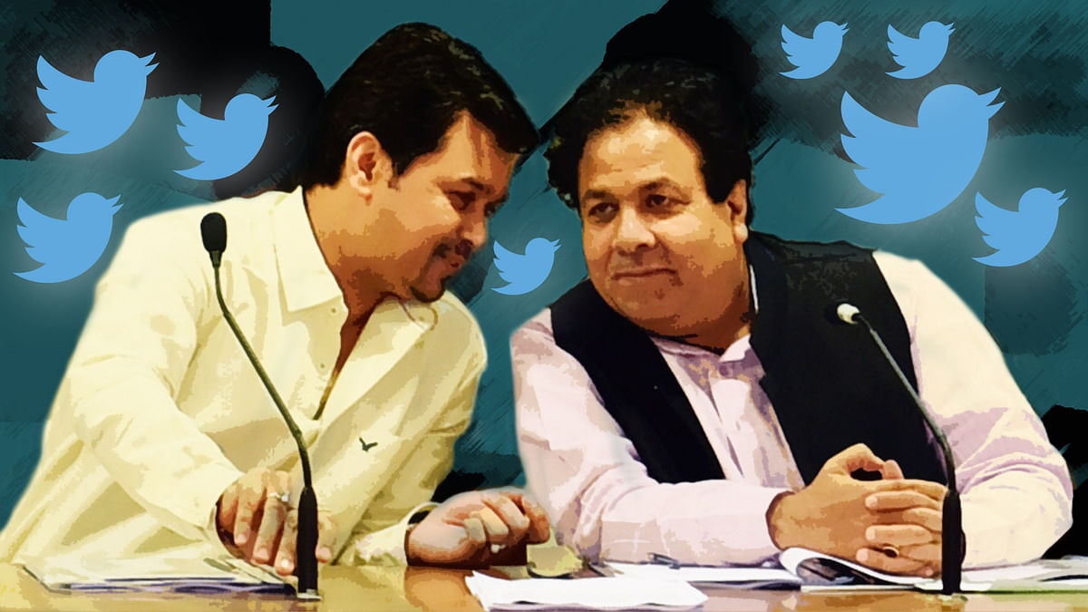 Member of parliaments Anurag Thakur (BCCI Secretary) and Rajeev Shukla (Chairman of IPL governing council). (Photo: PTI)
