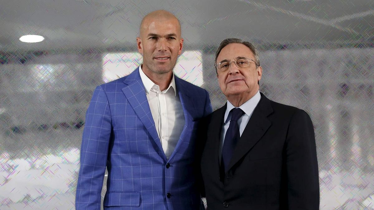 Zinedine Zidane with Real Madrid's President Florentino Perez. (Photo: Reuters/Altered by <b>The Quint</b>)
