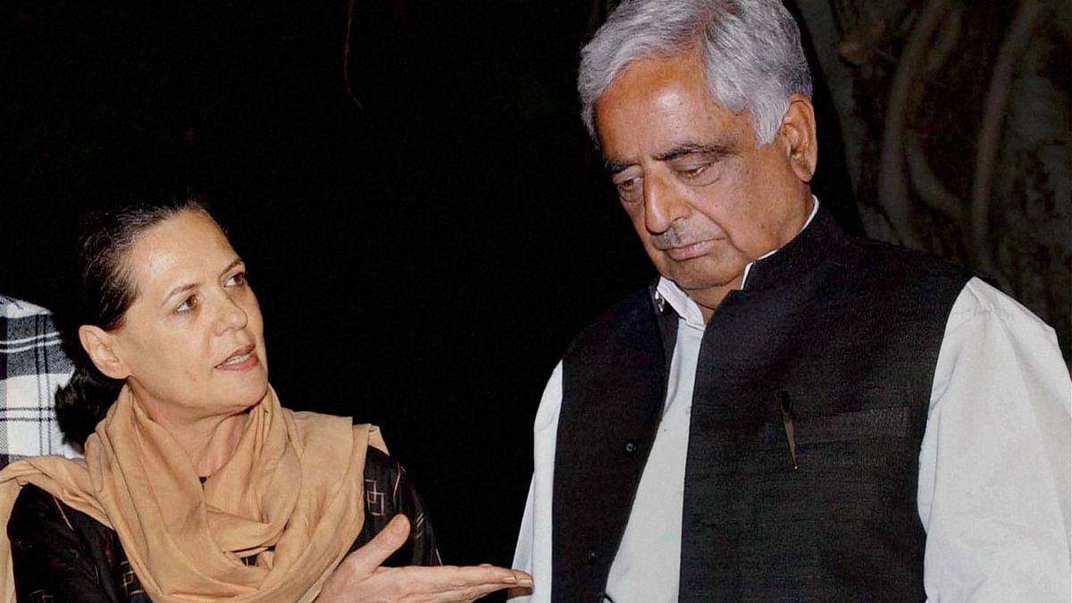File photo of Chief Minister Mufti Mohammad Sayeed with Congress President Sonia Gandhi during a meeting in New Delhi in October 2002. (Photo: PTI)