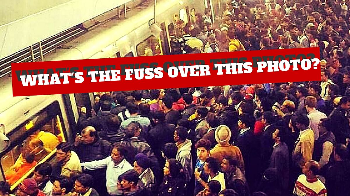 This is Sparta? Unverified images of total chaos at the Rajiv Chowk metro station were being passed off as a result of the Odd-Even formula. (Photo altered by The Quint)