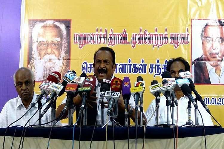 File picture of Vaiko, founder and General Secretary of MDMK. (Photo Courtesy: The News Minute)