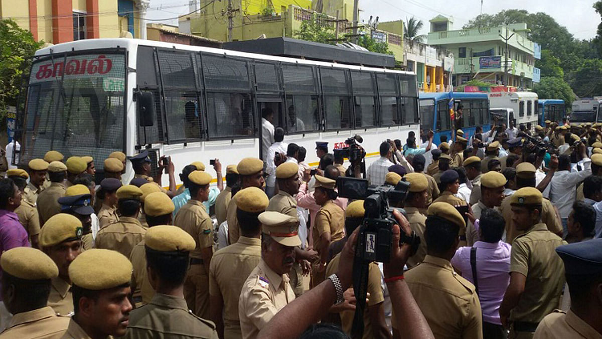 There is anger among the Hindu organisations against Tamil Nadu police, says BJP State Secretary. (Photo courtesy: <i>TheNewsMinute</i>)