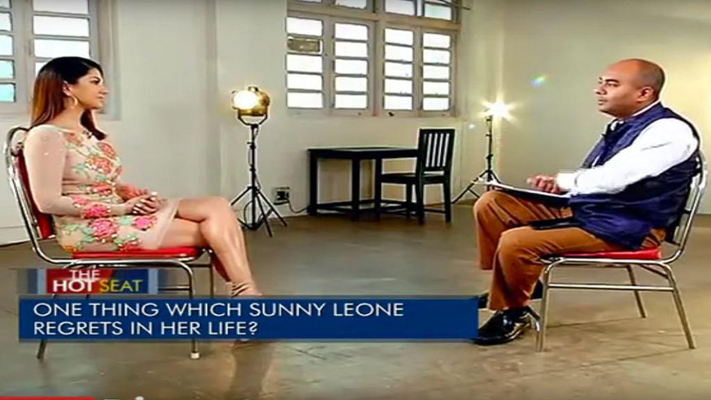 Sunny Leone in conversation with journalist Bhupendra Chaubey. (Photo: YouTube Screenshot)