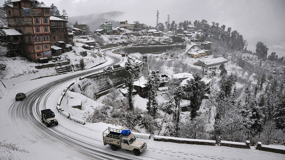 """Snow is considered """"white manure"""" for the fruit orchards as it not only helps in meeting the minimum chilling requirement(Photo: Reuters)"""