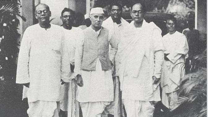 Nehru with Sarat Chandra Bose and Subhash Chandra Bose.
