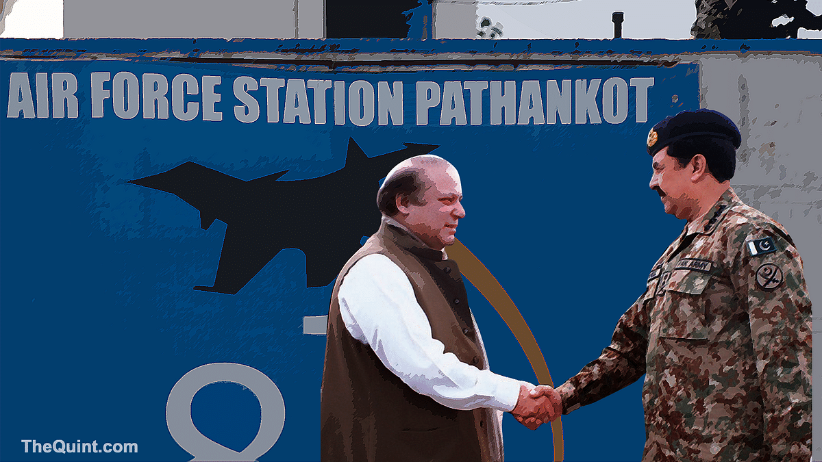 The terrorist attack on Pathankot air force base has actually saved Pakistan Prime Minister Nawaz Sharif and his army chief, General Raheel Sharif from a huge crisis. (Photo: The Quint)