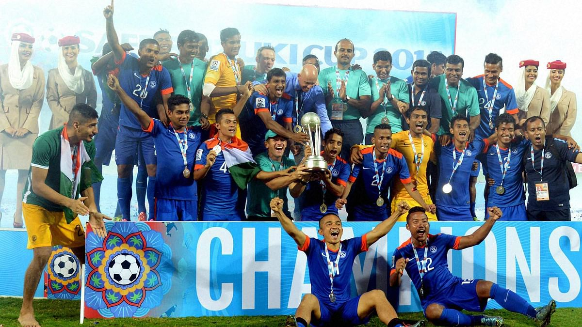 Indian football team celebrates after beating Afghanistan in SAFF Cup final. (Photo: PTI)