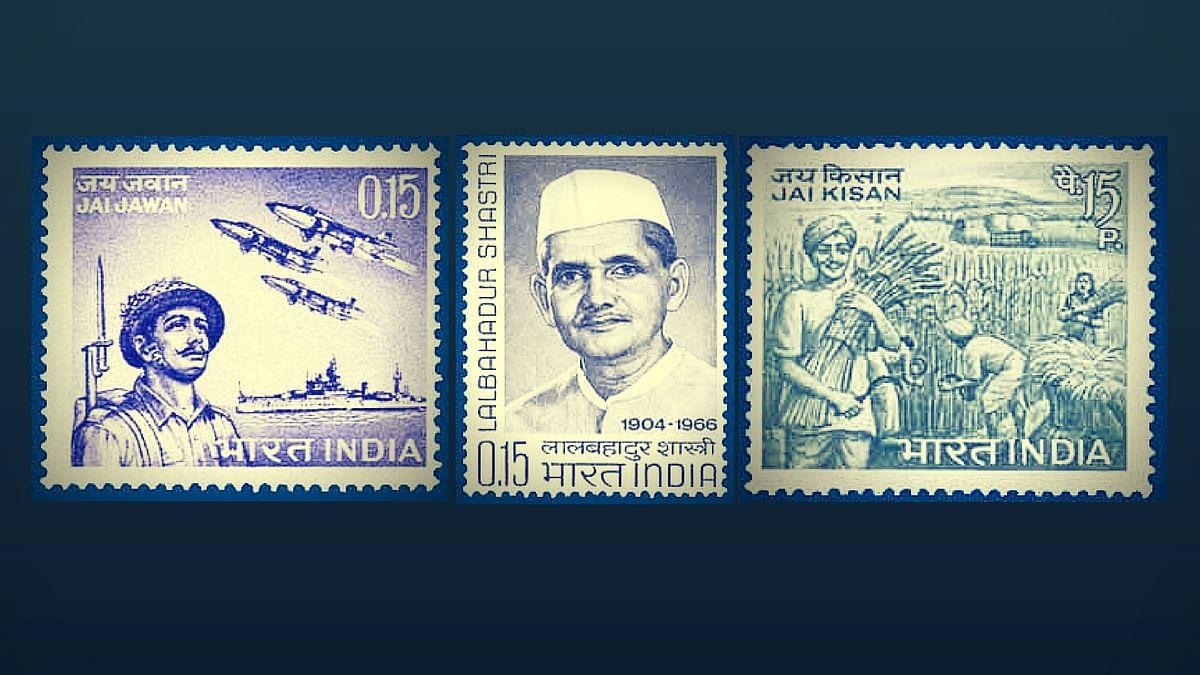 Stamps commemorate Lal Bahadur Shastri and his evergreen 'Jai Jawan Jai Kisan' slogan.