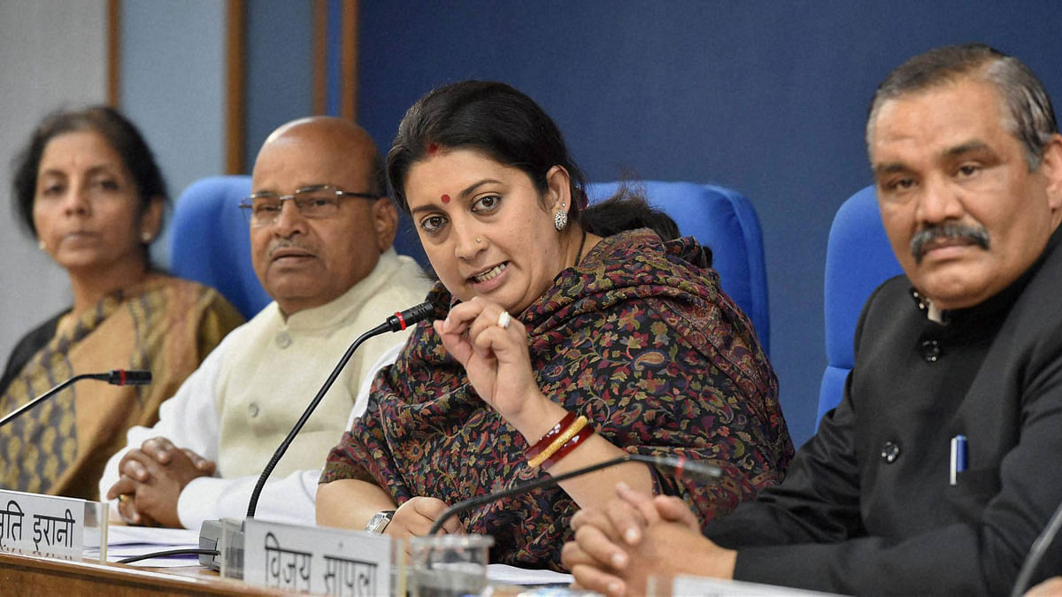 "File image of Union Minister Smriti Irani.&nbsp;<a href=""http://www.thequint.com/section/India""></a>"