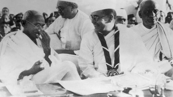 Bose with Mahatma Gandhi.