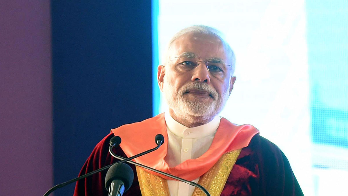 Prime Minister Narendra Modi addresses the 103rd Session of the Indian Science Congress, in Mysuru on 3 January 2016. (Photo: IANS)