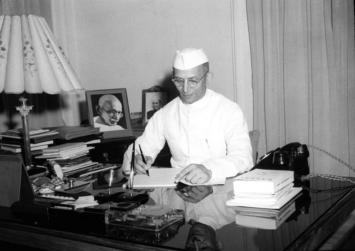 "Morarji Desai in May, 1957. (Photo Courtesy: <a href=""http://photodivision.gov.in/writereaddata/webimages/thumbnails/58686.jpg"">Photo Division of GoI</a>)"