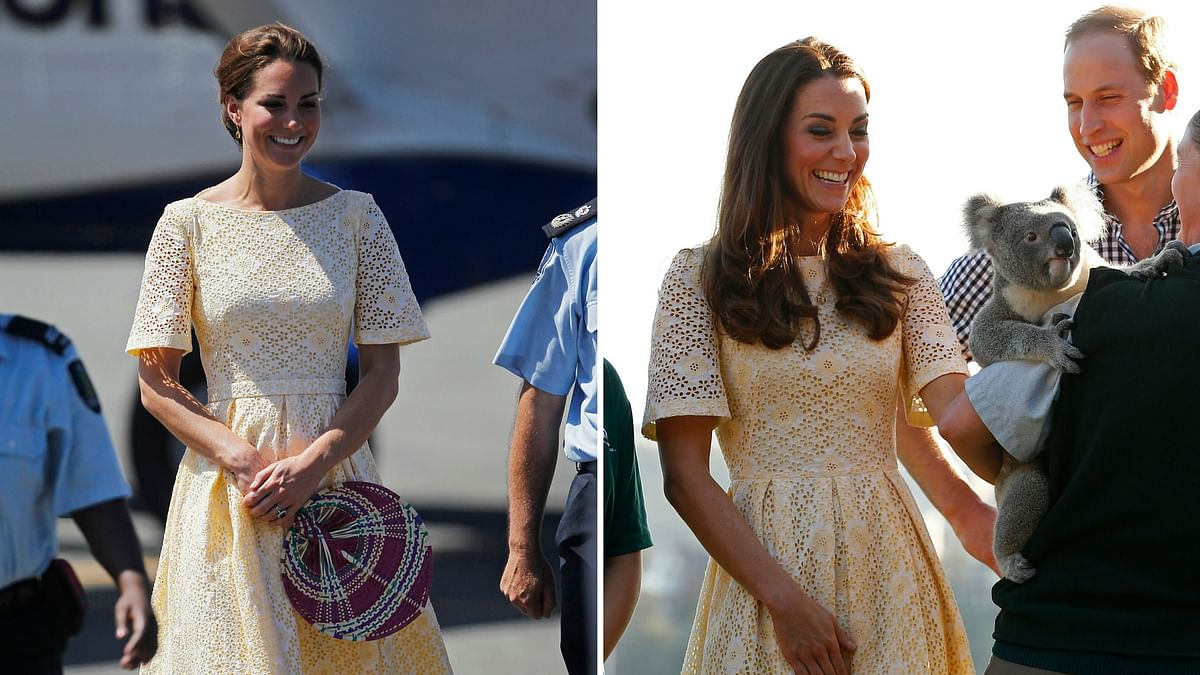 Kate Middleton photographed wearing the same outfit on two different occasions – during the Jubilee Tour in 2012 (L) and at Taronga Zoo, Australia in 2014 (R). (Photo: Reuters)