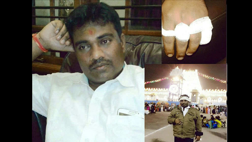 Suresh K claims he cut off his  finger for Sonia Gandhi and Rahul Gandhi (Photo Courtesy: The News Minute)