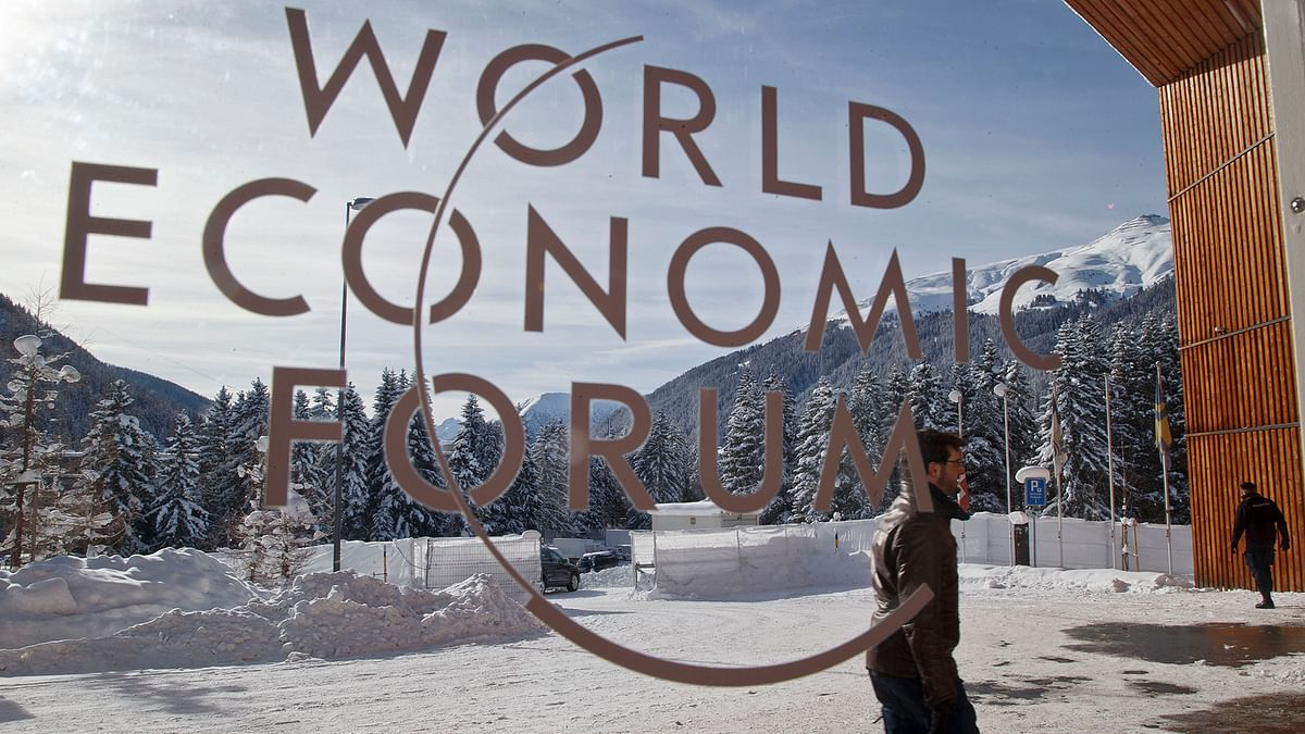 A man walks at the main entrance of the congress center where the World Economic Forum will take place in Davos.       (Photo: AP)