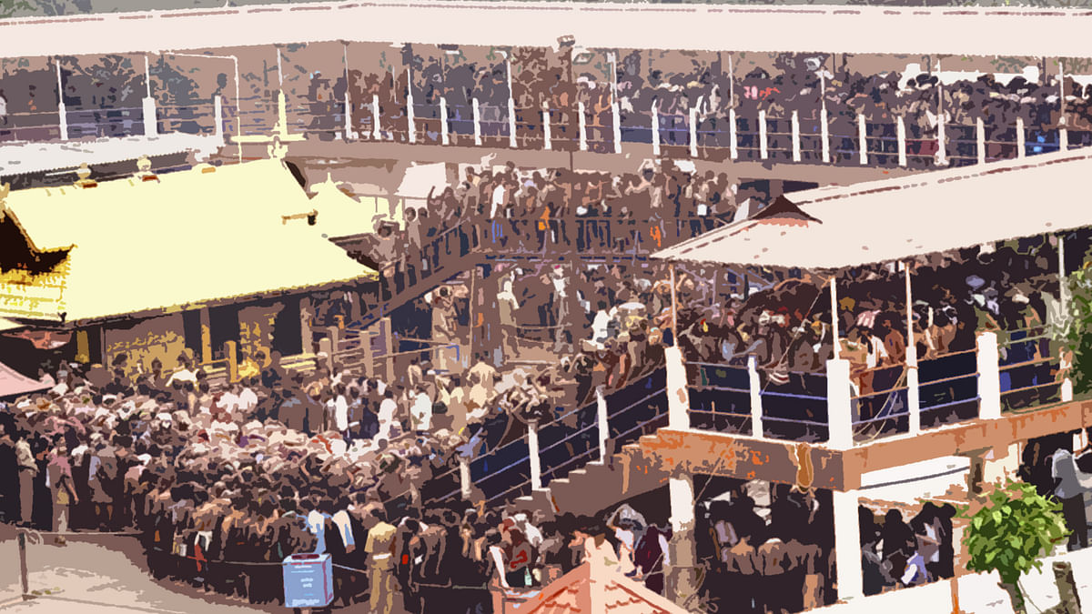 In the Sabarimala case, Justice Kurien raised the question of essential religious practices by asking why women should force the deity, against His own wish. (Photo: <b>The Quint</b>)