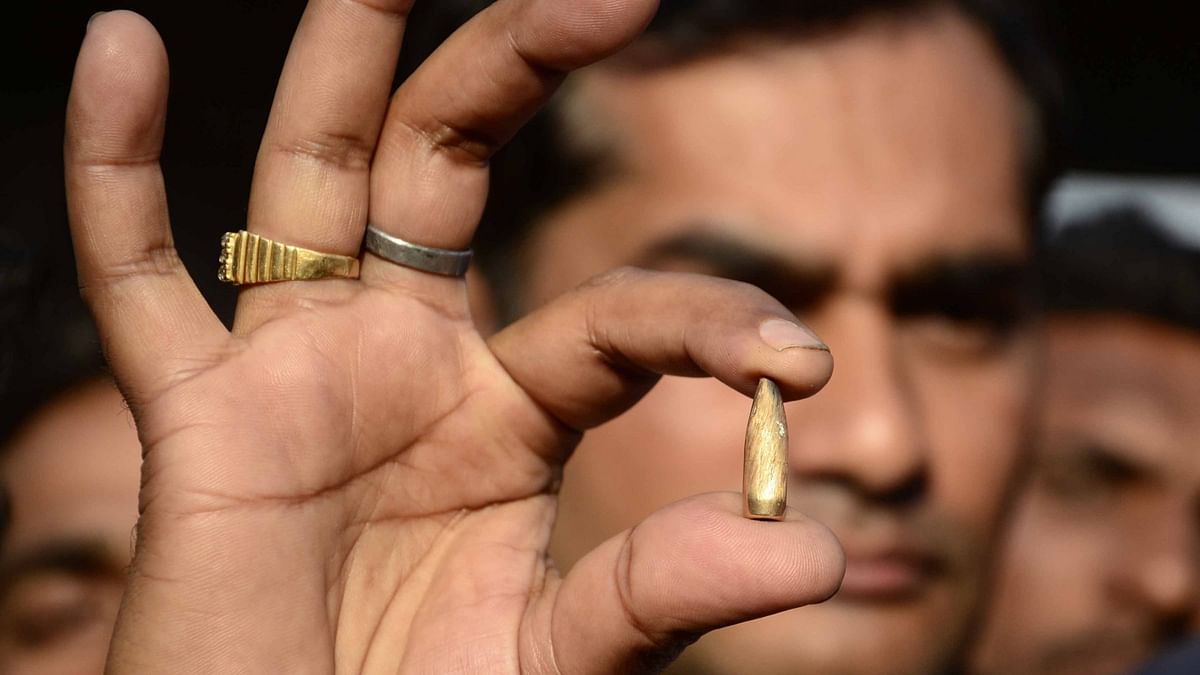 A bullet shell that was found at Dhaki Chowk market in Pathankot on January 2, 2016. (Photo: IANS)