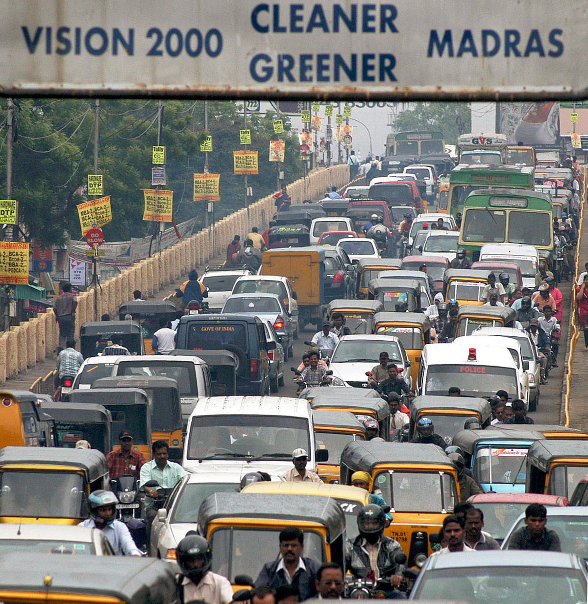 Heavy traffic, caused by monsoon rains, is seen on a flyover in the  city of Chennai. (File photo: Reuters)