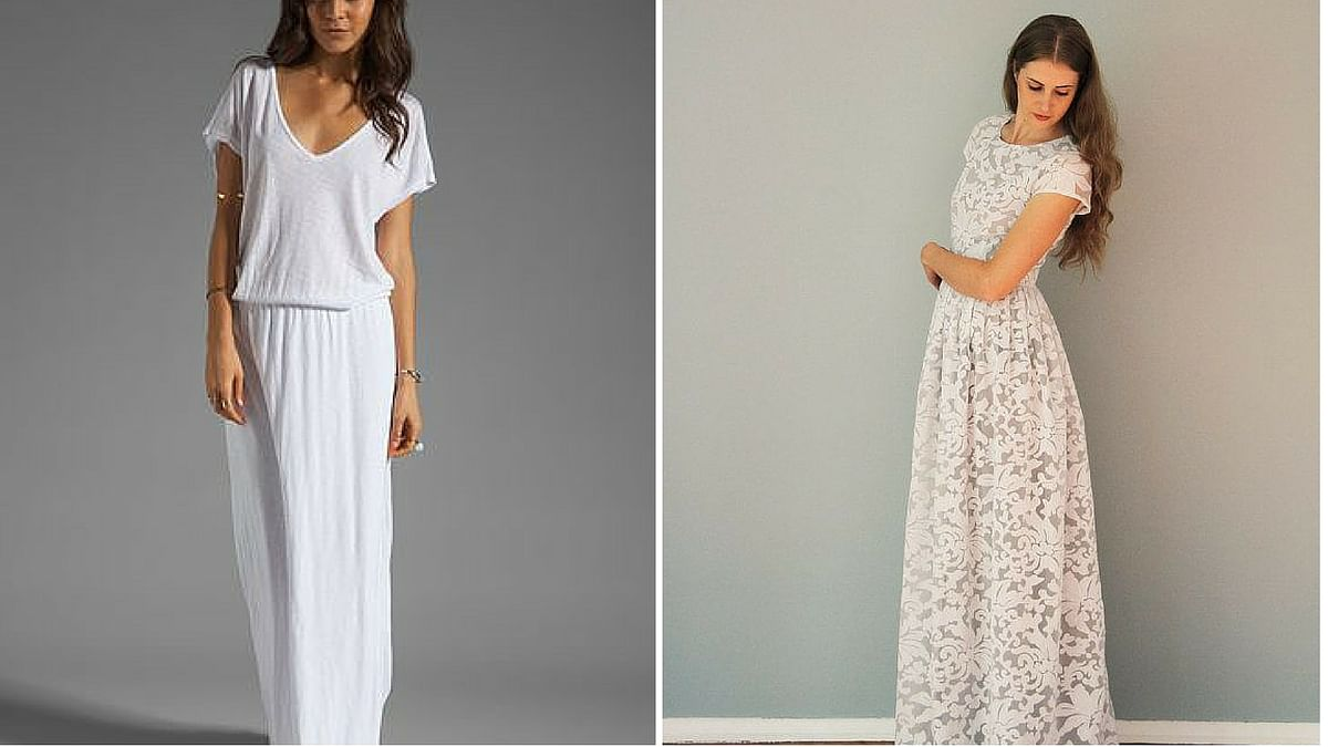 White maxi dresses remain fashionable for the many choices of fabric. (Photo Courtesy: Pinterest)