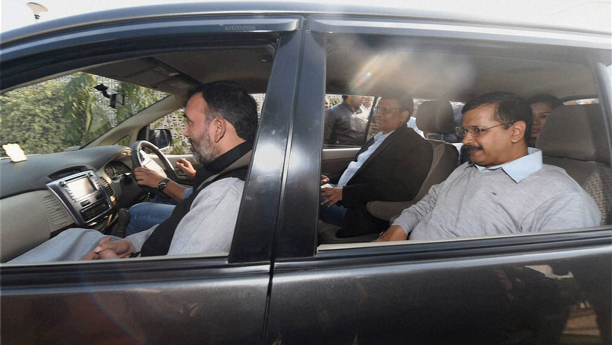 Delhi Chief Minister Arvind Kejriwal carpools with Transport Minister Gopal Rai and Health Minister Satyendra Jain. (Photo: PTI)