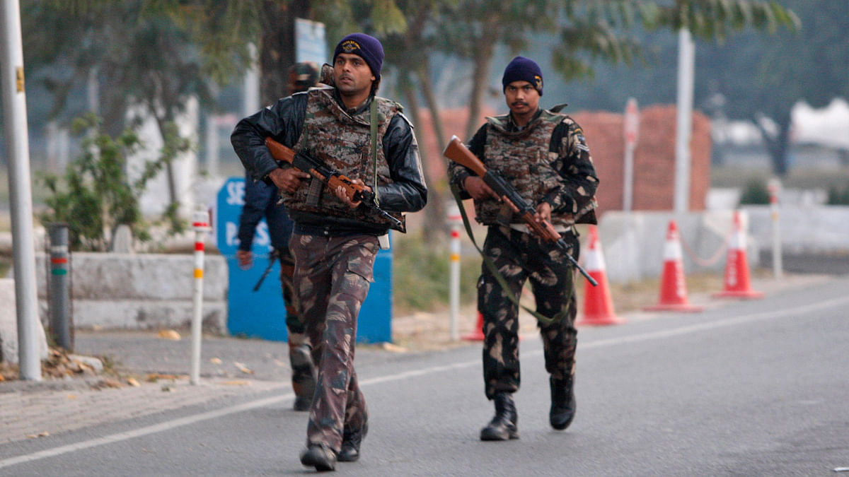 Indian security forces patrol the Indian air force base in Pathankot, India, 3 January 2016. (Photo: AP)