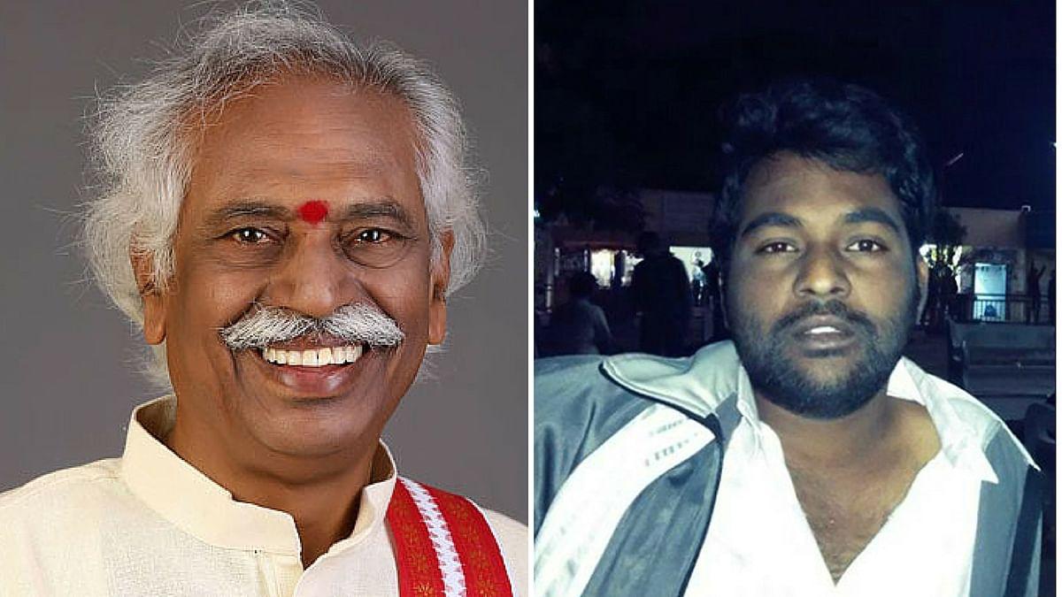Bandaru Dattatreya (left) and deceased scholar Rohith Vemula. (Photo: <b>The Quint</b>)