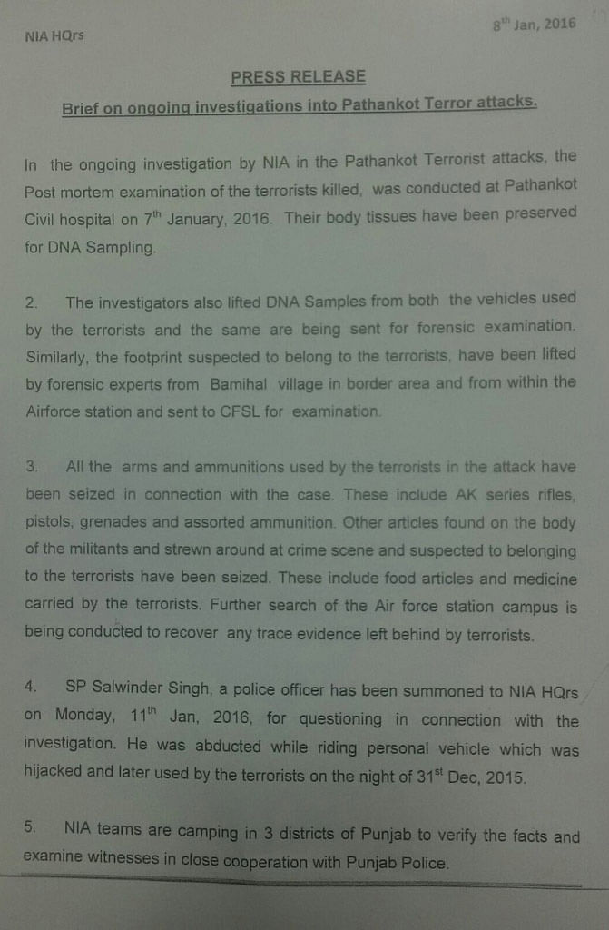 Official press release from the NIA Headquarters. (Photo: <b>The Quint</b>)