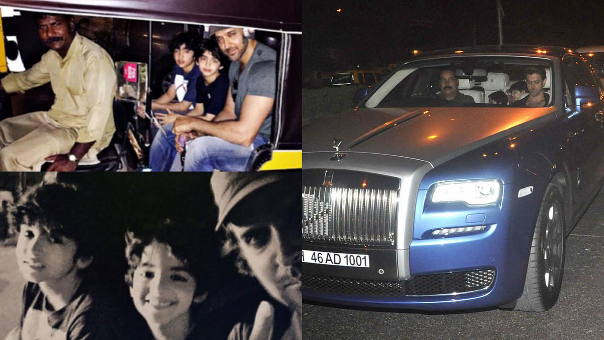 Hrithik Roshan moves up from an auto to a Rolls-Royce (Photo: Twitter / Yogen Shah)