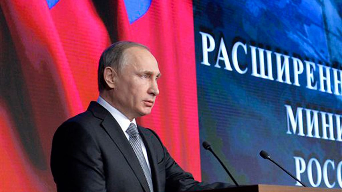 Russian President Vladimir Putin, delivering a speech at a meeting  in Moscow. (Photo: AP)