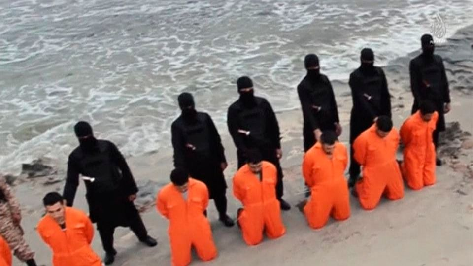 Screenshot from an ISIS video of the execution of 21 Egyptians. (Photo: Reuters)