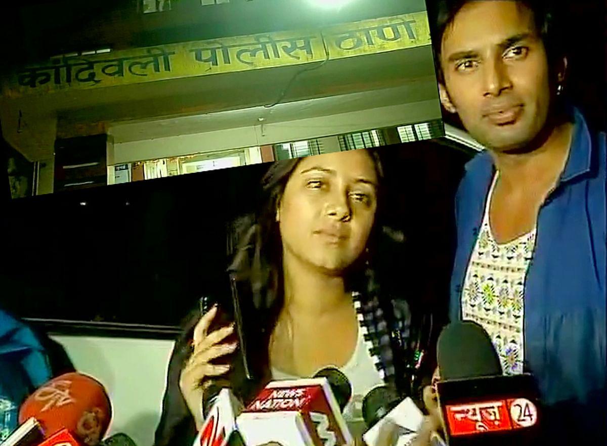 Pratyusha Banerjee along with her fiance Rahul Raj Singh talking to the media outside Kandivali police station. (Photo: ANI)