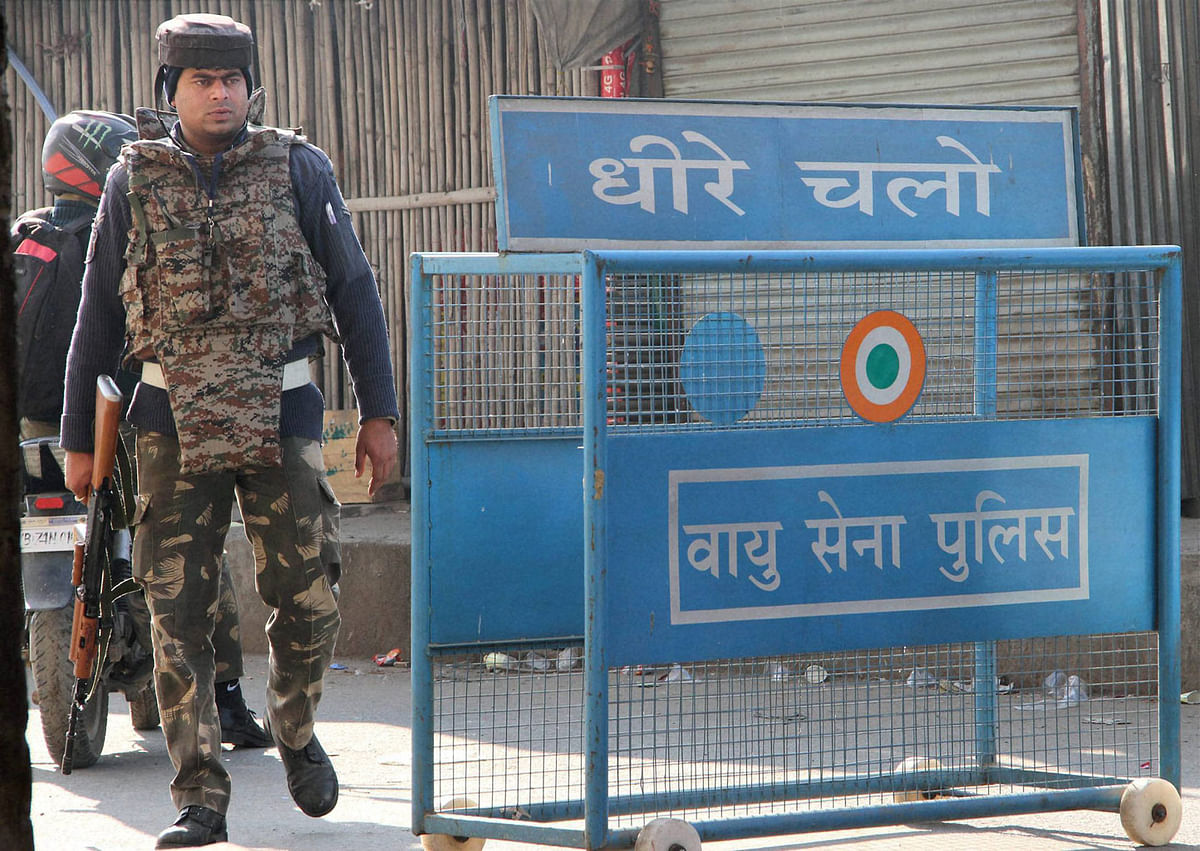 Security personnel on guard during the operation against the militants who attacked the Indian Air Force base in Pathankot on Sunday. (Photo: PTI)