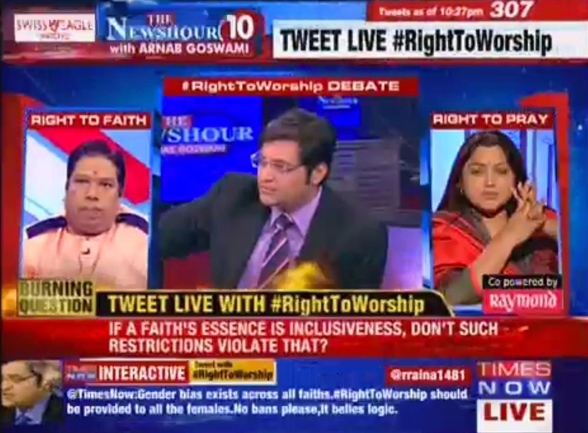 Screenshot of Pandit Ajay Gautum (left), and Khushboo (right) on The Newshour.