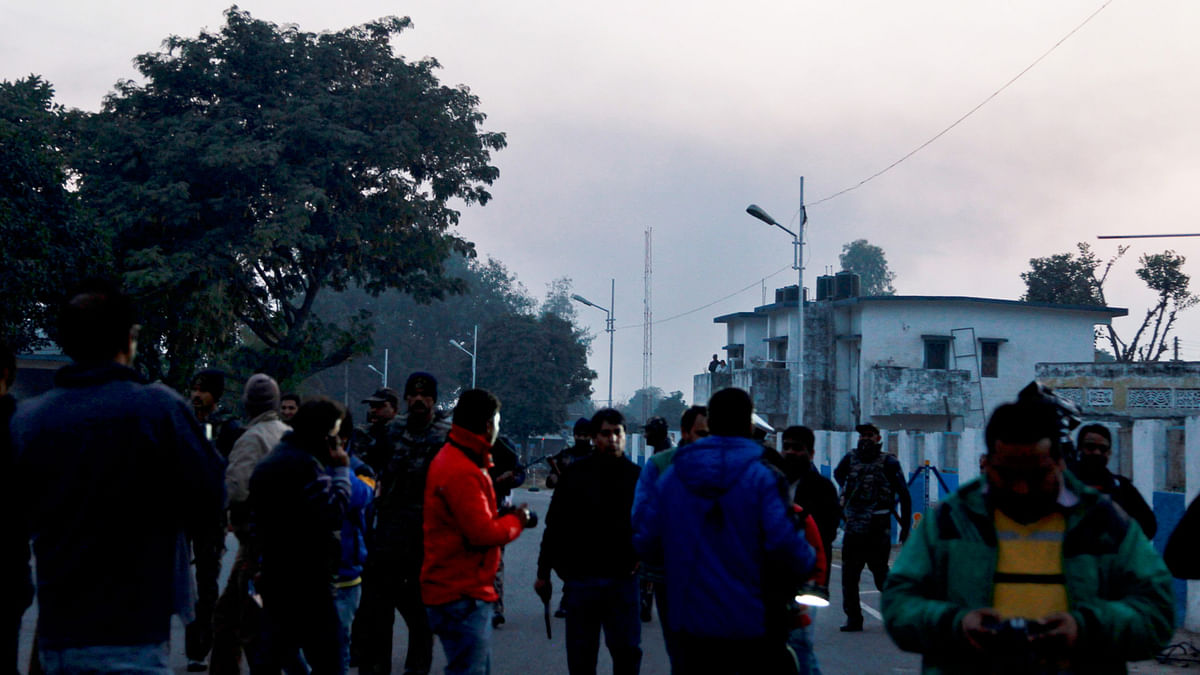 Smoke rises from the air force base in Pathankot, where operations continued late into the night on Sunday. (Photo: AP)