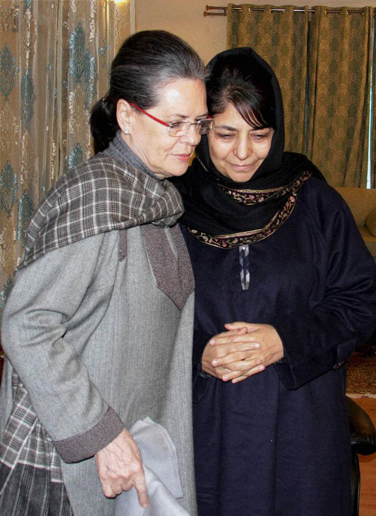 Sonia Gandhi with Mehbooba Mufti. (Photo: PTI)