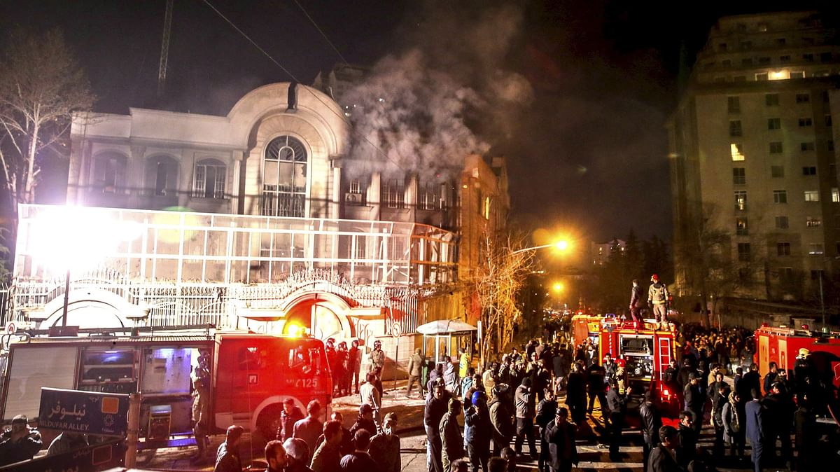 Flames rise from Saudi Arabia's embassy during a demonstration in Tehran January 2. (Photo: Reuters)