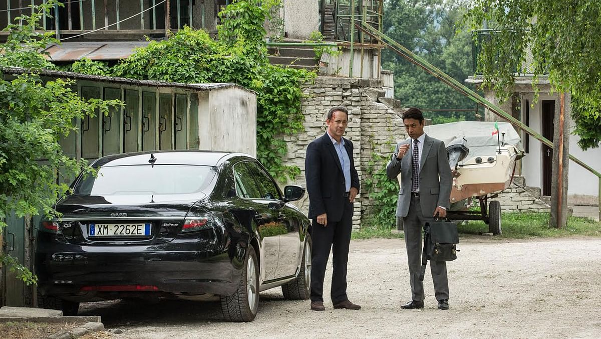 Tom Hanks and Irrfan Khan on the sets of their upcoming Hollywood film <i>Inferno.</i>