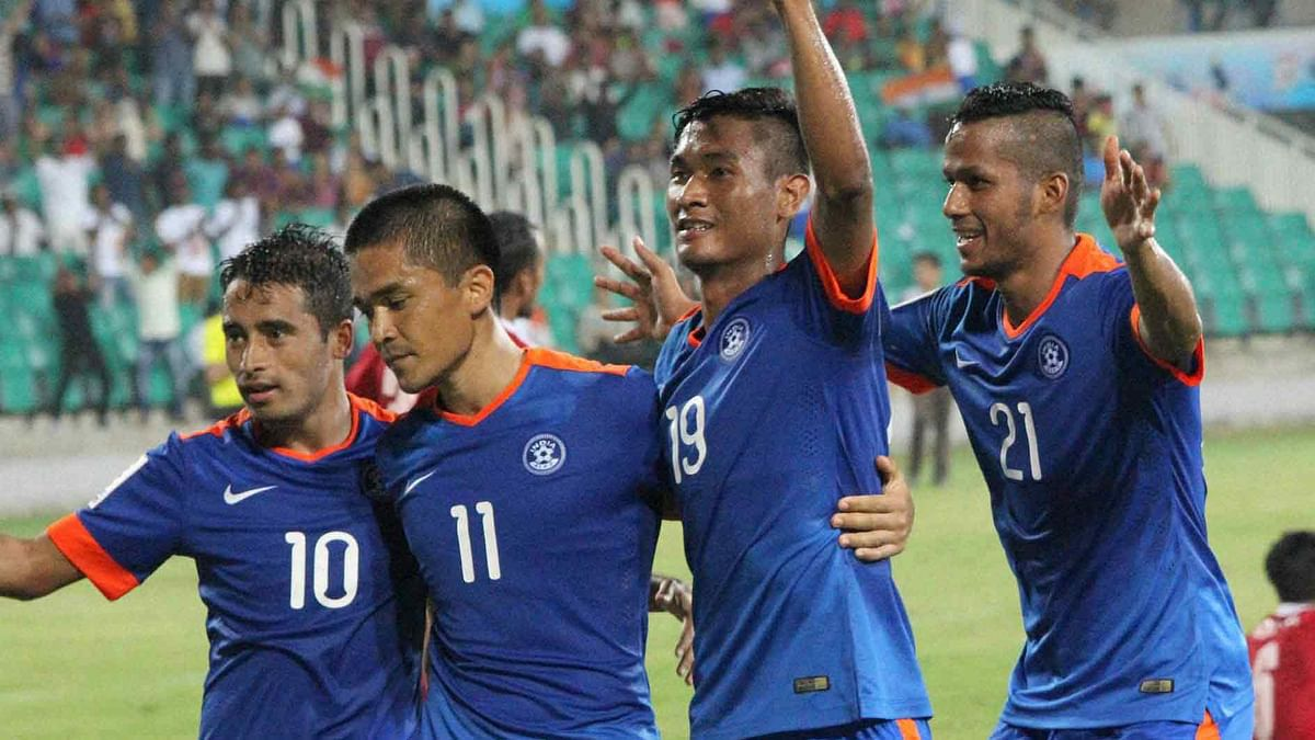 The Indian skipper Sunil Chhetri with his team-mates celebrate a goal in the group stage of the SAFF Cup. (Photo: PTI)