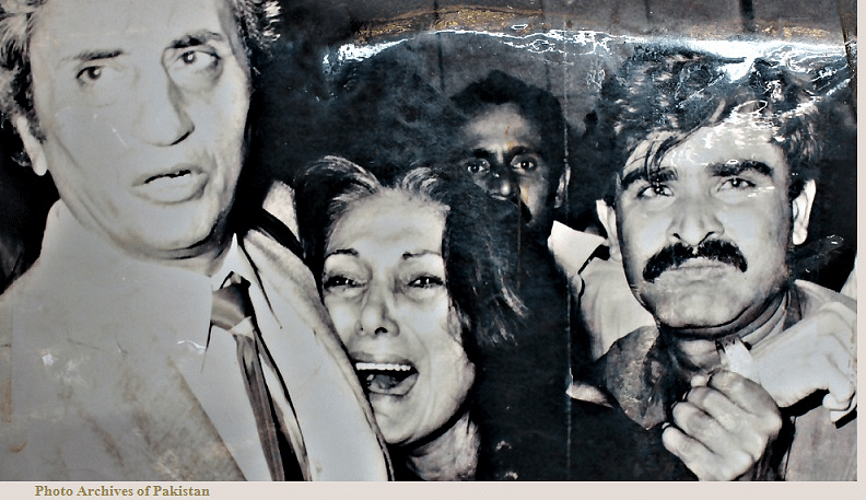 "A devastated Nusrat Bhutto at her husband's execution. (Photo: Facebook/<a href=""https://www.facebook.com/303855399725059/photos/pb.303855399725059.-2207520000.1452012218./710251629085432/?type=3&amp;theater"">Photo Archives of Pakistan</a>)"