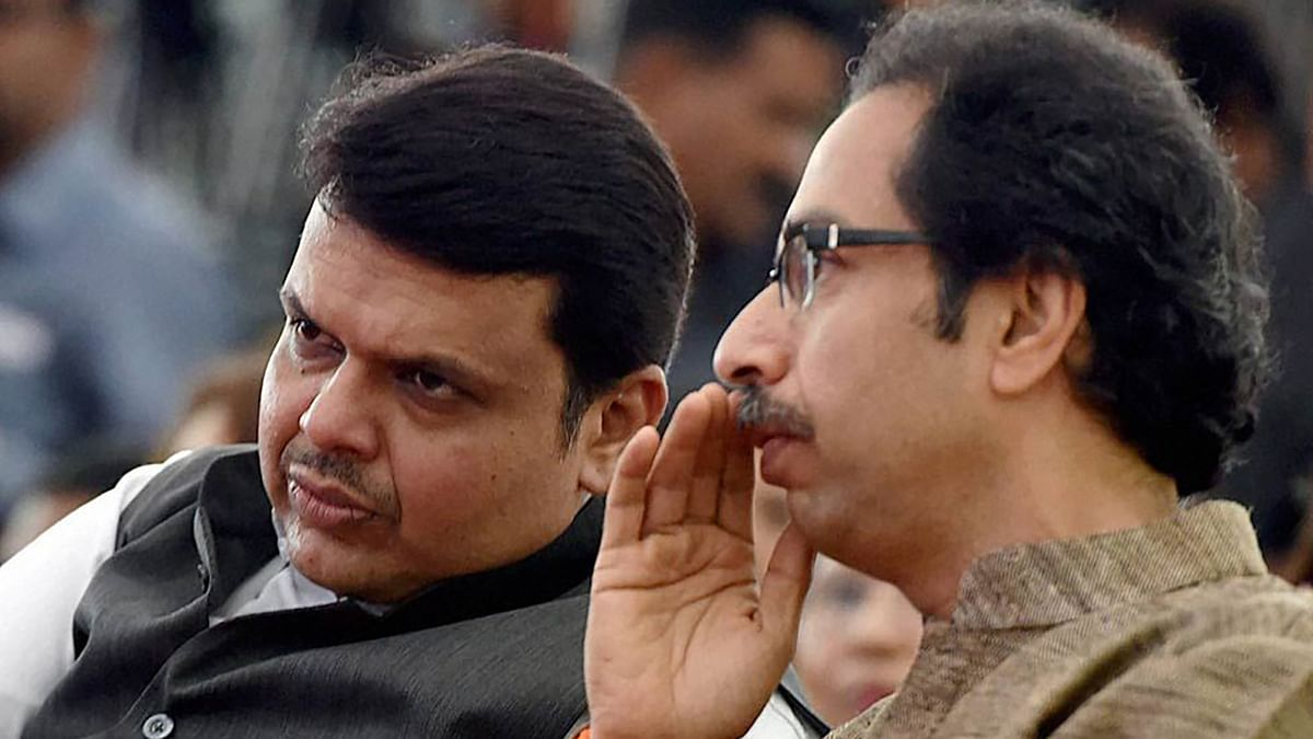 Maharashtra Chief Minister Devendra Fadnavis with Shiv Senaleader Uddhav Thackeray.
