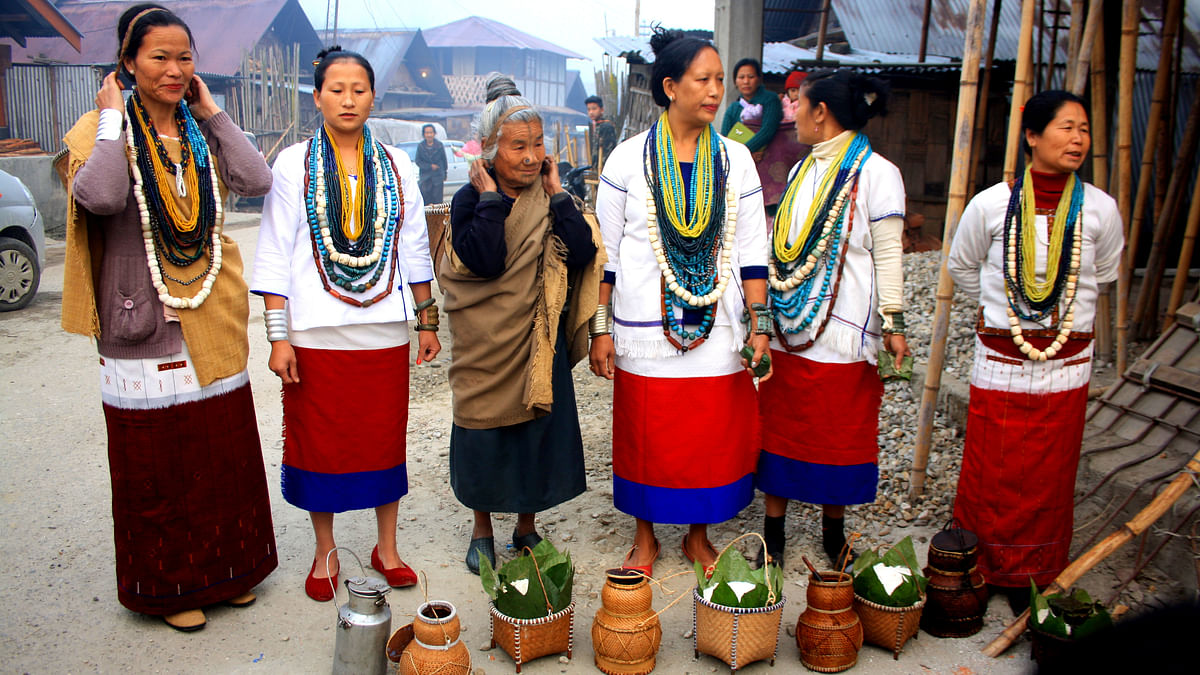 The Apatani women can be seen here, ready for Myoko. (Photo Courtesy: Kushal Chowdhury)