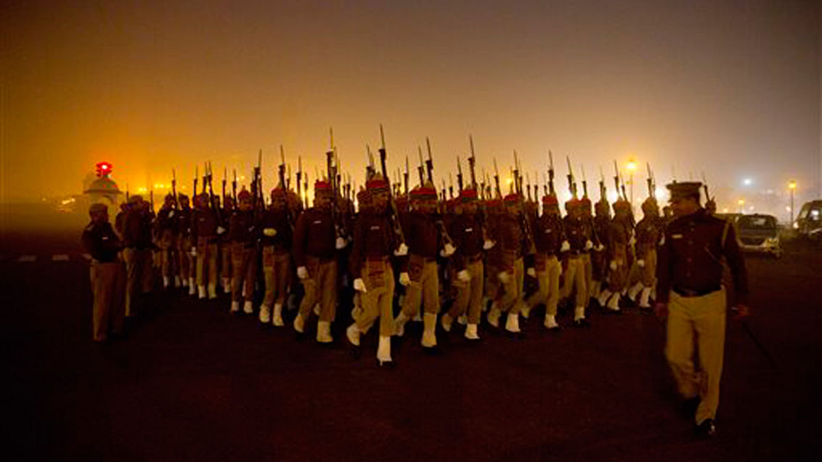 Delhi Police personnel practice a march for the upcoming Republic Day parade in New Delhi. (Photo: AP)