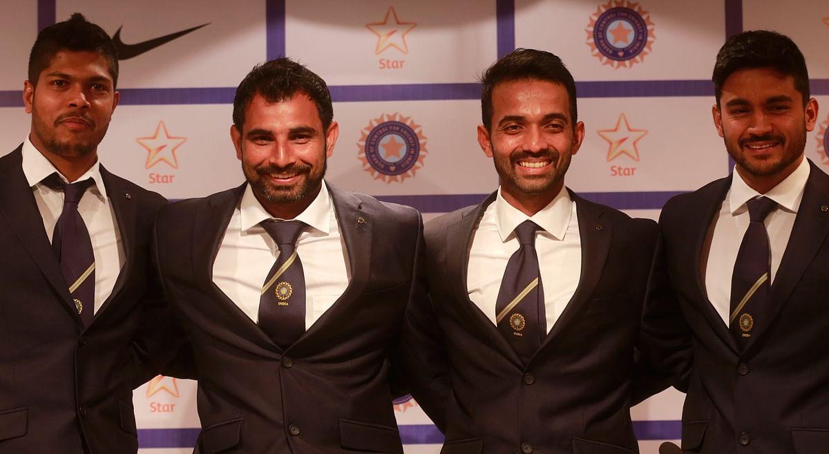 Indian players from left, Umesh Yadav, Mohammad Shami, Ajinkya Rahane, and Manish Pandey pose during a press conference (Photo: AP)