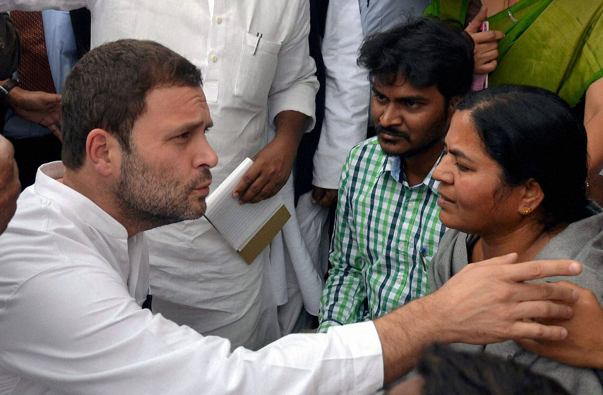 Rahul Gandhi with Rohith Vemula's mother. (Photo: PTI)